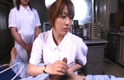 Riho Asakura dresses as nurse and straps this patient down in kinky gangbang